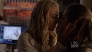 Zoie Palmer and  Anna Silk Lesbian Kiss,  Lost Girl